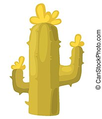Cactus - Blooming cactus on a white background