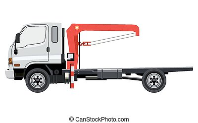 Tow truck with a crane on a white background