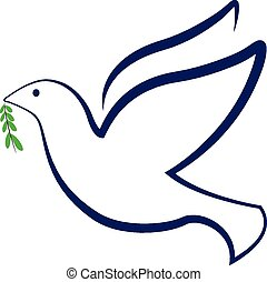 Vector peace bird dove logo - Vector peace dove with olive...