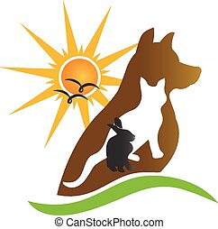 Cat dog rabbit silhouettes logo - Cat dog rabbit silhouettes...