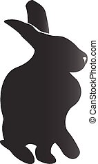 Rabbit silhouette vector icon logo