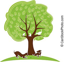 Cat and dog tree logo - Tree with pets Dogs and cats playing...
