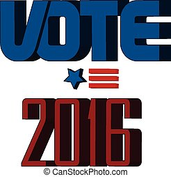 Election 2016 with USA Flag illustration. Vector icon symbol