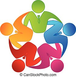 Vector teamwork business logo - Teamwork concept of...