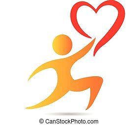 Heart and figure logo - Vector man with heart icon...