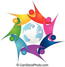 Teamwork around world logo