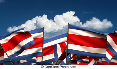 Waving Costa Rican Flags seamless alpha channel