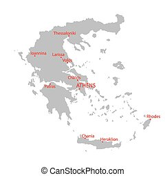 grey map of Greece