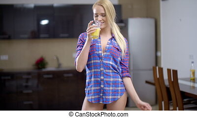 Sexy Bottomless Woman Drinking Orange Juice - Sexy...