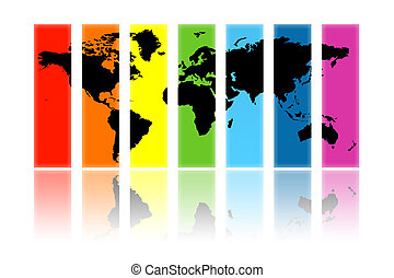 World - Illustration of a card of the world on different...