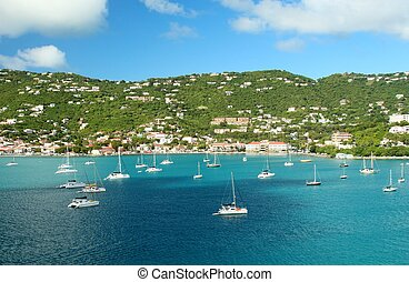 Sailboats anchored in St Thomas - Sailboats anchored in a...