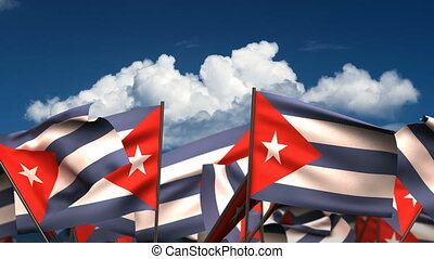 Waving Cuban Flags seamless alpha channel