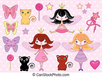 Little girls - Set of cute fairy princess girls, cats and...