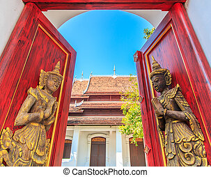 Thai style carving wood door chiang mai Thailand