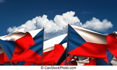 Waving Czech Flags (seamless & alpha channel)