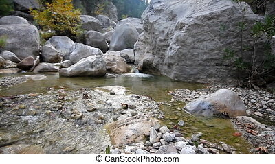 river in the mountains Mountain gorge - river flows among...