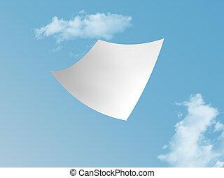 white paper - single white paper flying on blue sky.