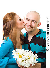 woman kiss bold young happy man - Couple, woman kiss bold...