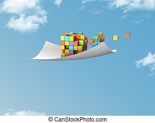 white paper - single white paper with colorful cubes flying...