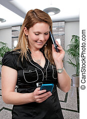 Woman on the Phone - Beautiful woman talking texting and...