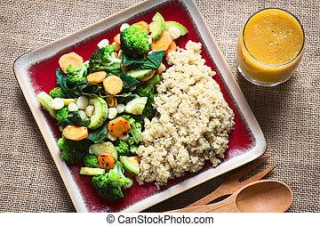 cocinado, blanco, vegetales,  Quinoa