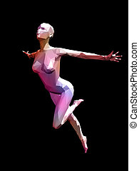 3D female mode - colorful 3D female model flying on black...