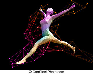 3D female mode - colorful 3D female model flying on abstract...