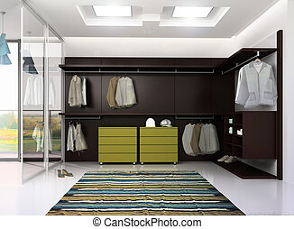 render of luxury apartment dressing room - 3d render of...