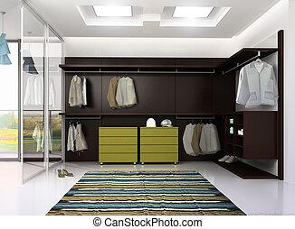 render of luxury apartment dressing room - 3d render of...
