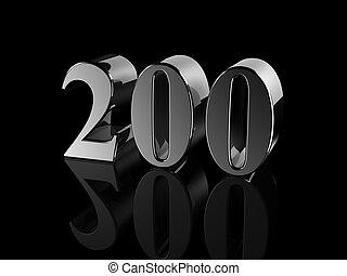 number 200 - black metallic number 200 on black background,...