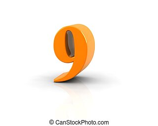 number 9 - yellow metallic number 9 on white...