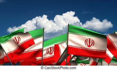 Waving El Iranian Flags (seamless & alpha channel)