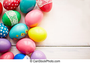 Painted Easter eggs - Easter symbols on white background