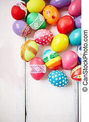 Creative Easter symbols - Creatively painted colorful Easter...