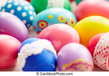 Symbols of Easter - Variety of Easter painted eggs