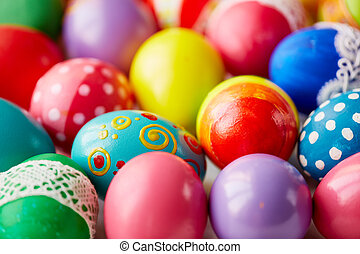 Easter variety - Various Easter eggs with creative colorful...