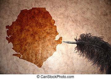 Vintage sierra leone map - sierra leone map on vintage paper...
