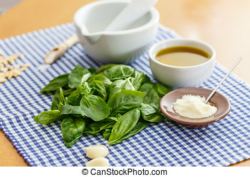 Italian food - pesto and ingridients What you need