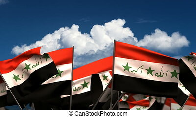 Waving Iraqi Flags seamless alpha channel