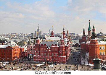 View on Moscow Kremlin and Historical museum, Russia