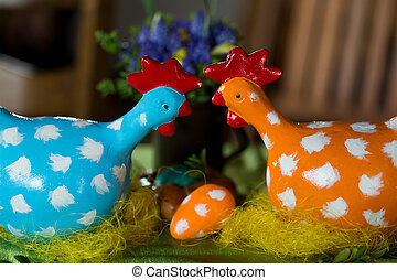 painted hen dotted as the Easter decoration
