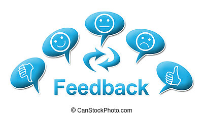 Feedback With comments Symbols Blue - Feedback text and...