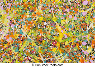 The flowery background sloppy with colourful  paint