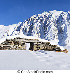 ruins under snow - view of ruins under snow in french alps