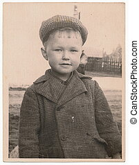 Od Soviet Black and white portrait photograph of a little...