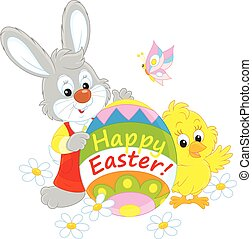 Easter Bunny and Chick - Little rabbit and chicken holding a...