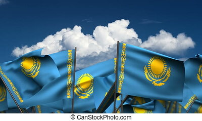 Waving Kazakh Flags (seamless & alpha channel)