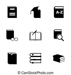 Vector black schoolbook icon set on white background