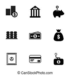 Vector black bank icons set on white background