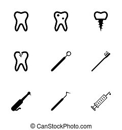 Vector black dental icons set on white background
